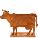 Vache en métal, sur plaque, L30cm, rouille